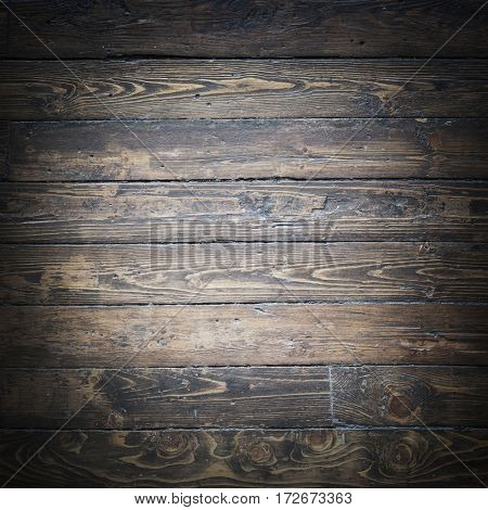 Old, shabby and vintage floor. Wooden brown planks textur.