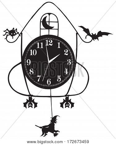 Wall clock for Halloween elements and symbols on the clock holiday.
