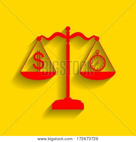 Stopwatch and dollar symbol on scales. Vector. Red icon with soft shadow on golden background.