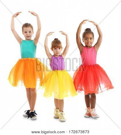Cute little ballerinas on white background