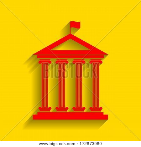 Historical building with flag. Vector. Red icon with soft shadow on golden background.