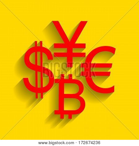 Currency sign collection dollar, euro, bitcoin, yen. Vector. Red icon with soft shadow on golden background.
