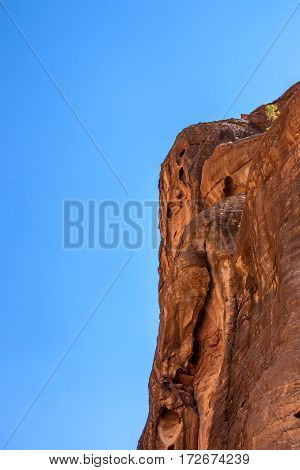 Rocks of pink sandstone in Siq canyon in Petra, Jordan