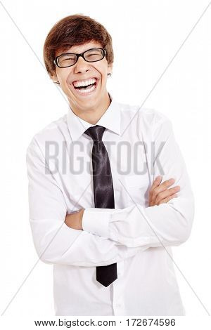 Portrait of young hispanic man wearing glasses, white shirt and black tie, standing with crossed arms and laughing out loud isolated on white background - laughter is best medicine concept