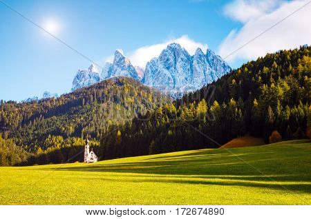 Sunny day in St. Magdalena village. Picturesque and gorgeous scene. Location famous place Funes valley, Odle Group, Dolomiti Alps. Province of Bolzano - South Tyrol, Italy. Europe. Beauty world.