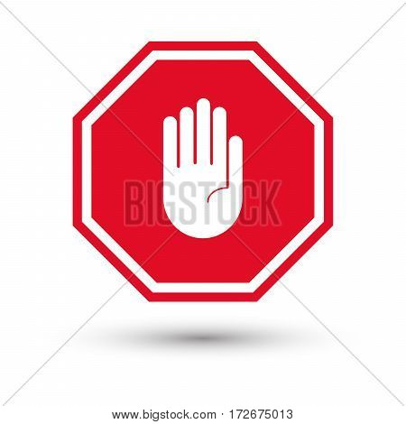 hand stop sign with shadow. Vector illustration