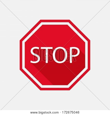 stop sign with long shadow. Vector illustration