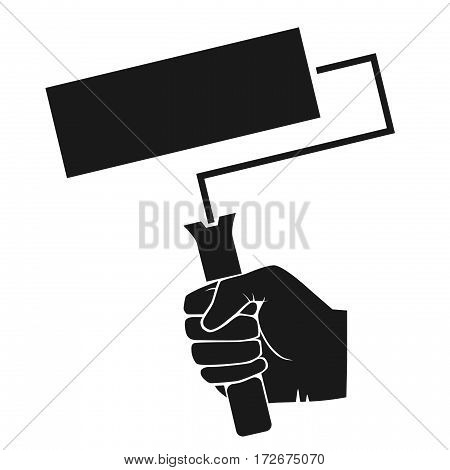 Image of hand with roller brush. grey tones illustration of hand with roller brush.