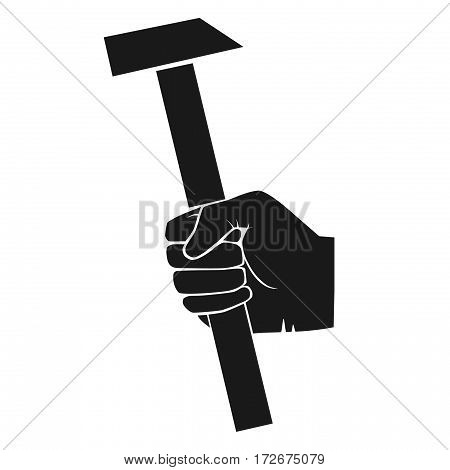 Image of hand with hammer. grey tones illustration of hand with hammer.