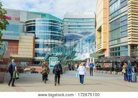 Modern building. Shopping Center. POLAND. WARSAW 12.09.2016