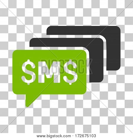 SMS Messages icon. Vector illustration style is flat iconic bicolor symbol eco green and gray colors transparent background. Designed for web and software interfaces.