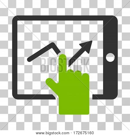 Tap Trend On PDA icon. Vector illustration style is flat iconic bicolor symbol eco green and gray colors transparent background. Designed for web and software interfaces.