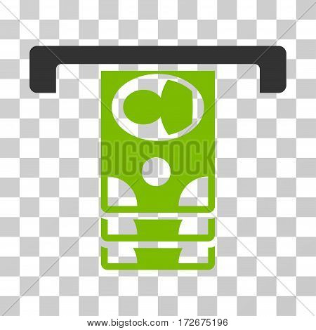 Withdraw Banknotes icon. Vector illustration style is flat iconic bicolor symbol eco green and gray colors transparent background. Designed for web and software interfaces.