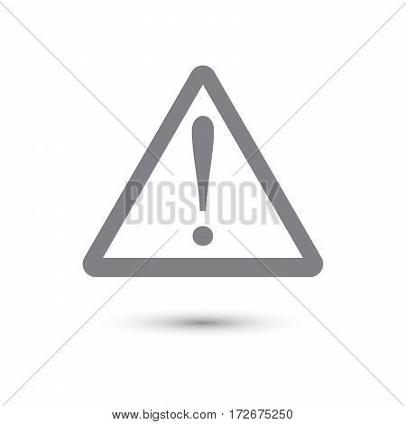 grey warning sign with shadow. Vector illustration