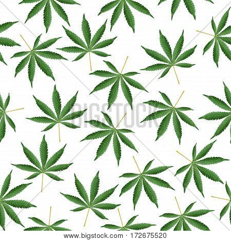 Cannabis Background. Marijuana Ganja Weed Hemp Leafs Seamless Pattern.