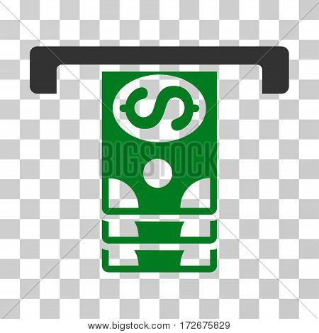 Banknotes Withdraw icon. Vector illustration style is flat iconic bicolor symbol green and gray colors transparent background. Designed for web and software interfaces.