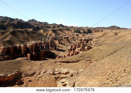 Charyn canyon park in the Kazakhstan Asia