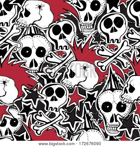 Vector seamles pattern. Crazy punk rock abstract background. Skulls pins guitars rock symbols disk starslips.