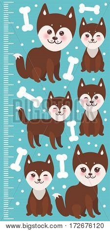 funny brown husky dog and white bones, Kawaii face with large eyes and pink cheeks, boy and girl on blue background. Children height meter wall sticker, kids measure. Vector illustration
