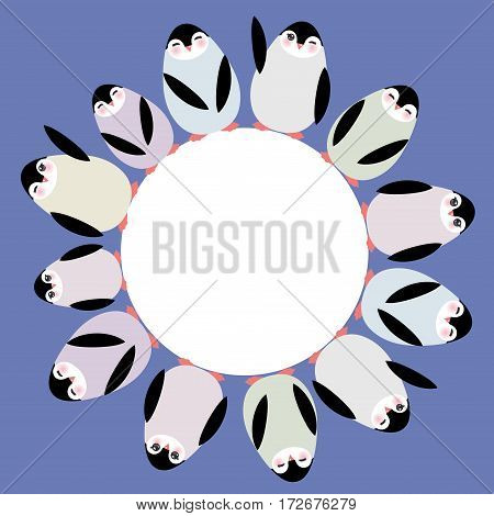Funny penguins for winter design round frame for your text card template on blue lilac background. Vector illustration