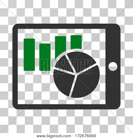 Charts On PDA icon. Vector illustration style is flat iconic bicolor symbol green and gray colors transparent background. Designed for web and software interfaces.