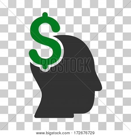 Commercial Intellect icon. Vector illustration style is flat iconic bicolor symbol green and gray colors transparent background. Designed for web and software interfaces.