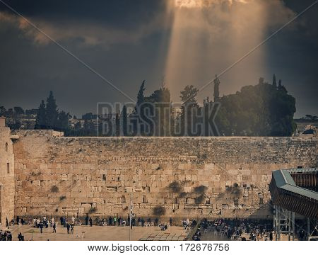 Ancient Ruins of Western Wall of Temple Mount is a major Jewish sacred place and one of the most famous public domain in the world, Jerusalem, Israel