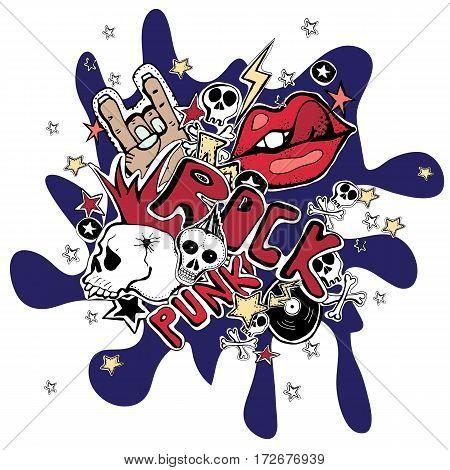 Vector Crazy punk rock abstract background. Skulls pins guitars rock symbols disk starslips.