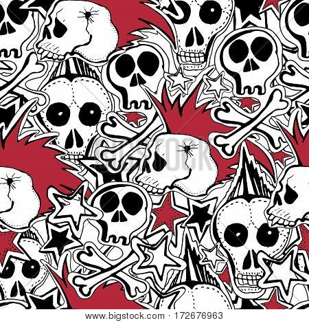 Vector seamles pattern. Crazy punk rock abstract background. Skulls pins guitars rock symbols disk starslips. Can use for party decoration wallpaper gift wrapp prints home decor.