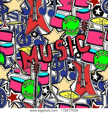 Vector seamless pattern. Rock n roll symbols music drums guitars stars.
