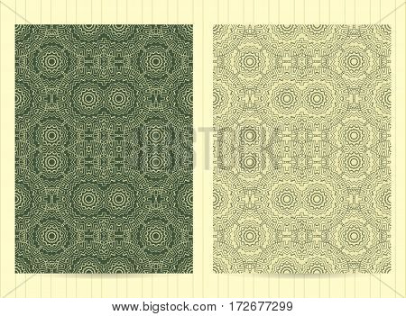 5X7 Inch Size Cards Decorated With Mandala In Green Color. Vector Template In Eastern, Oriental Styl