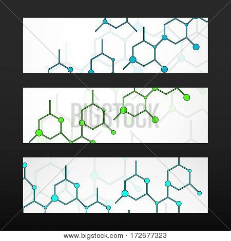 Banner with hexagonal molecular structure of DNA. Geometric abstract background