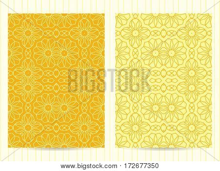 5X7 Inch Size Cards Decorated With Mandala In Yellow Color. Vector Template In Eastern, Oriental Sty