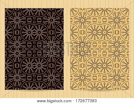 5X7 Inch Size Cards Decorated With Mandala In Golden Color. Vector Template In Eastern, Oriental Sty