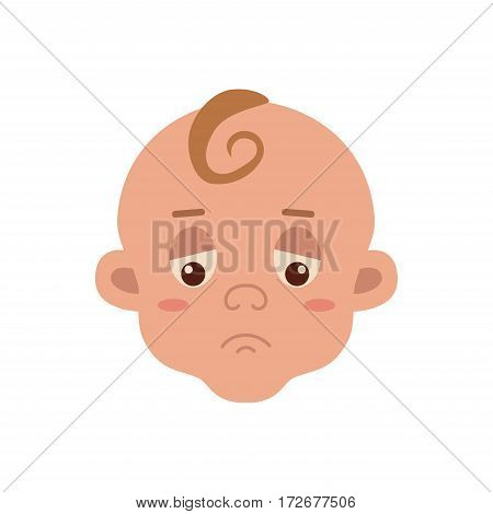 Baby facial expression isolated icon on white background. Cute color vector illustration of little boy sad in flat style.