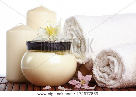 Spa composition with flower on a white background.
