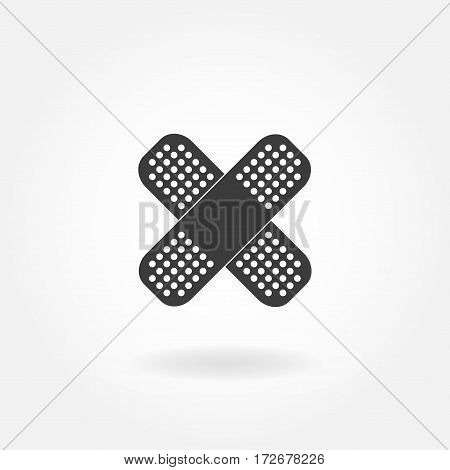 Band or plaster flat Icon. Crossed Band Aid. Vector illustration of Band Aid.