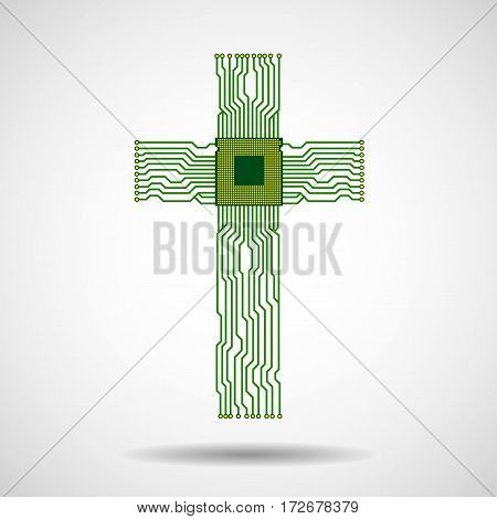 Abstract electronic circuit board in shape of cross with cpu. Christian Symbol