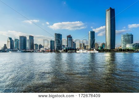 landmarks of Shanghai with Huangpu river in China.