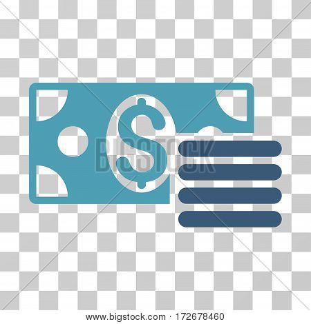 Dollar Cash icon. Vector illustration style is flat iconic bicolor symbol cyan and blue colors transparent background. Designed for web and software interfaces.