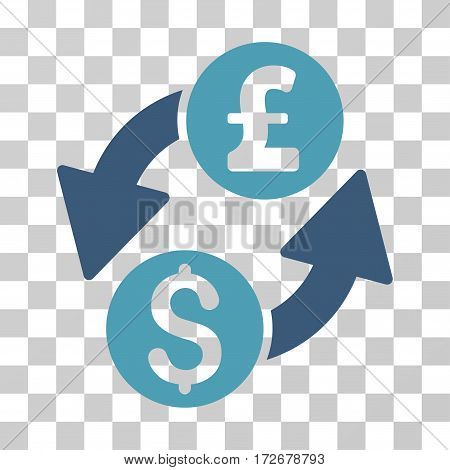 Dollar Pound Exchange icon. Vector illustration style is flat iconic bicolor symbol cyan and blue colors transparent background. Designed for web and software interfaces.