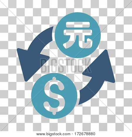Dollar Yuan Exchange icon. Vector illustration style is flat iconic bicolor symbol cyan and blue colors transparent background. Designed for web and software interfaces.