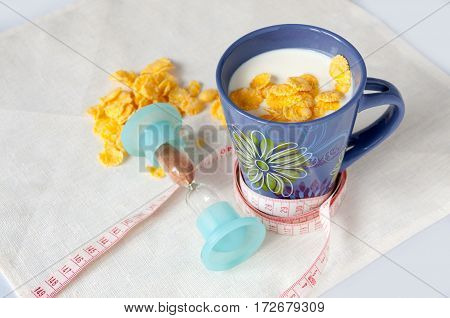 Milk, Corn Flakes, Centimeter, Hourglass, Diet Concept
