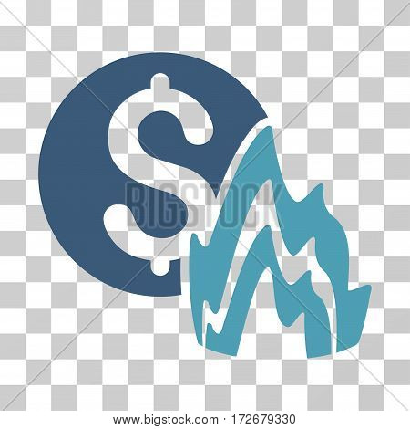 Fire Disaster Price icon. Vector illustration style is flat iconic bicolor symbol cyan and blue colors transparent background. Designed for web and software interfaces.