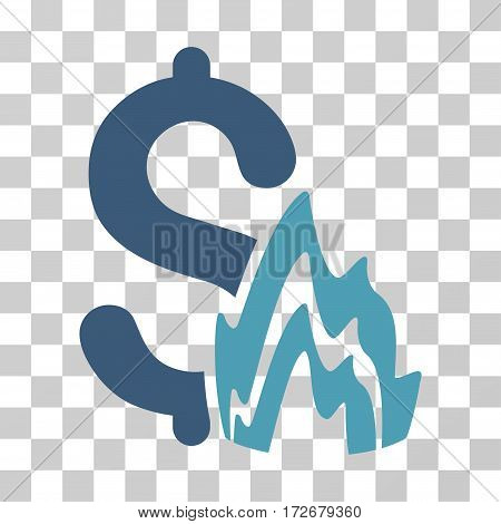 Fire Disaster icon. Vector illustration style is flat iconic bicolor symbol cyan and blue colors transparent background. Designed for web and software interfaces.