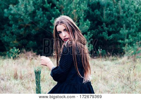 Portrait of turned back beautiful brunette girl with long hair and evening make up posing and looking at camera over shoulder. Wearing black blouse. Pine forest at background.