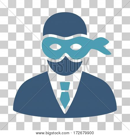 Masked Thief icon. Vector illustration style is flat iconic bicolor symbol cyan and blue colors transparent background. Designed for web and software interfaces.
