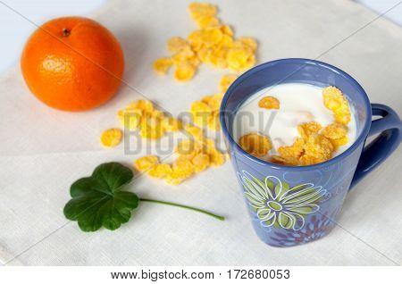 Healthy Breakfast Of Yogurt, Cornflakes And Orange