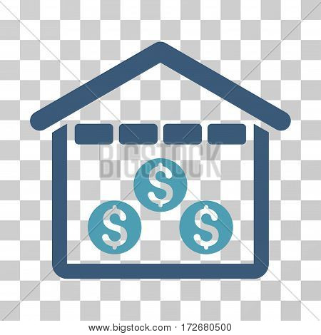Money Depository icon. Vector illustration style is flat iconic bicolor symbol cyan and blue colors transparent background. Designed for web and software interfaces.