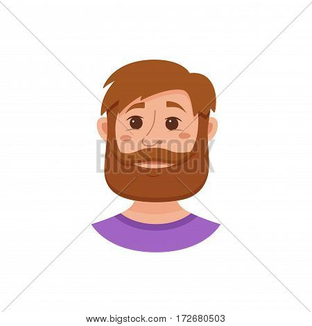 Beard men facial expression isolated icons. Cute color vector illustration of hipster guy faces avatars showing different emotions smiling, sad, surprised, crying, shy, laugh happy in flat style.